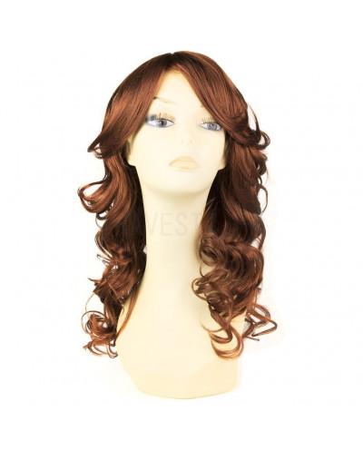 Sepia — Perruque synthétique mi-longue aux cheveux bouclés Bliss (cuivré)