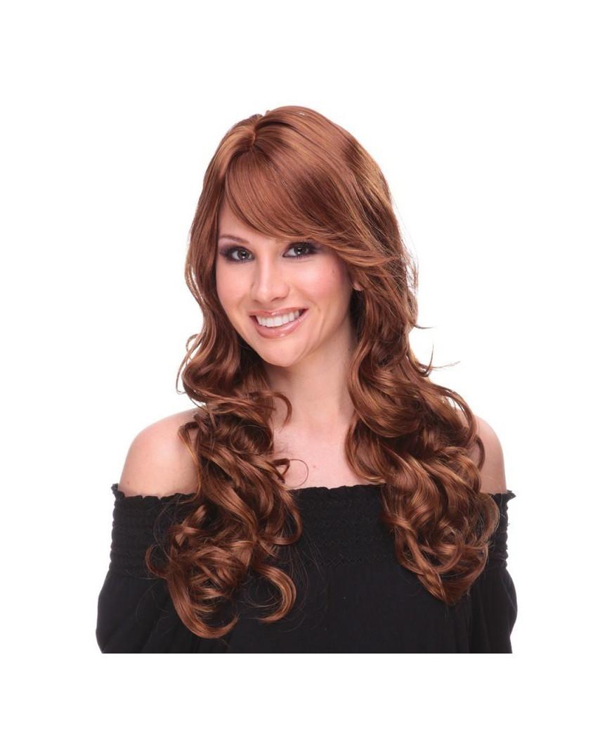 Sepia — Perruque synthétique longue aux cheveux ondulés Broadway (roux)