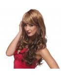 Sepia — Perruque synthétique longue aux cheveux ondulés Broadway (châtain clair)