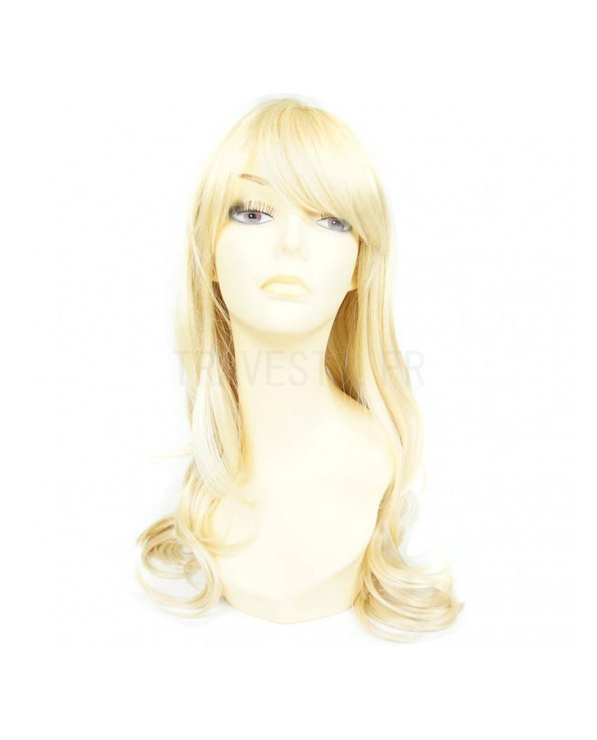Sepia — Perruque synthétique longue à frange Kristen (blond platine)