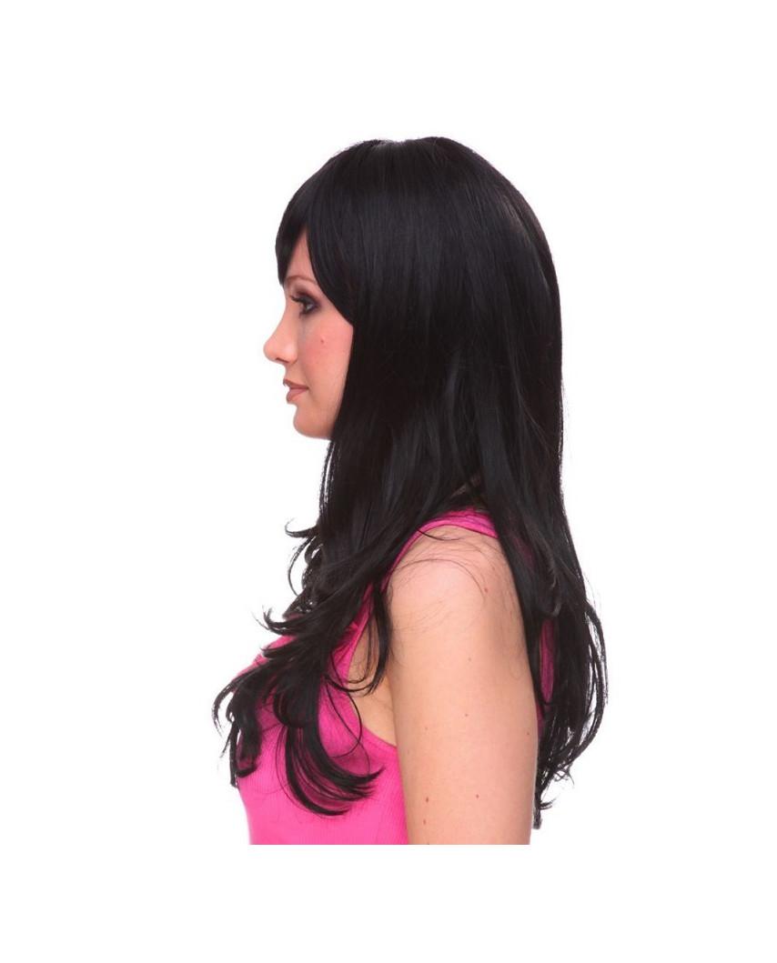 Sepia — Perruque synthétique longue à frange Kristen (noir)