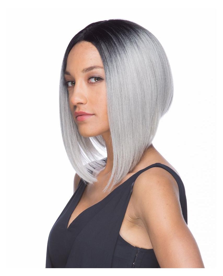 Sepia — Perruque synthétique mi-longue et lace front Libby (gris)