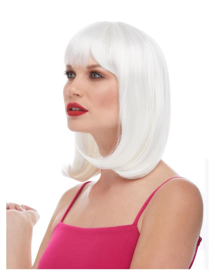 Characters — Perruque synthétique mi-longue carré plongeant Doll (blanc)