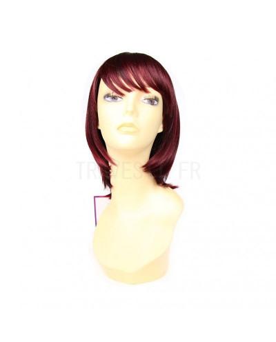 Mane Muse — Perruque synthétique mi-longue cheveux lisses Wendy (bordeaux)