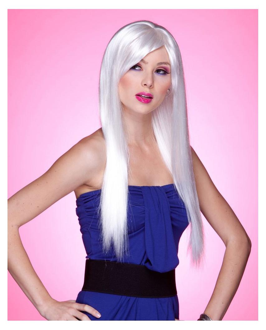 Blush — Perruque synthétique très longue cheveux lisses Divine (blanc)