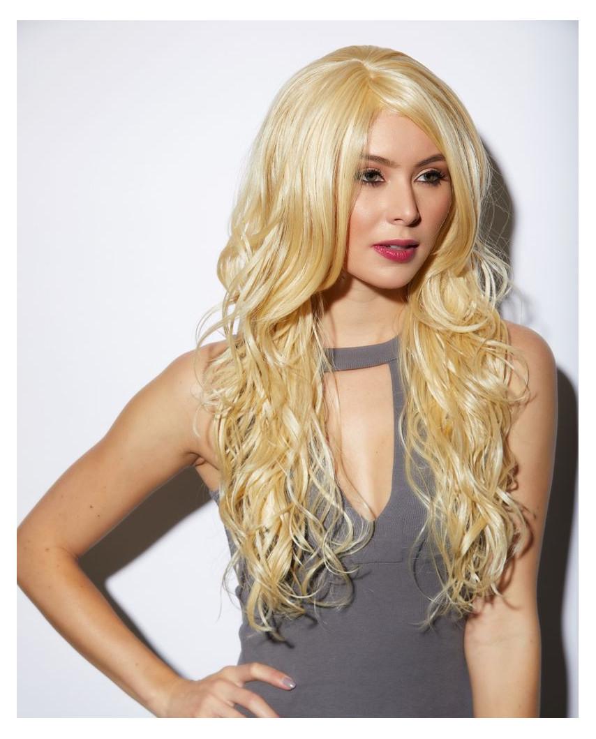 Blush — Perruque synthétique longue ondulée Cala (blond platine)