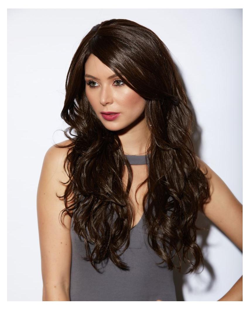 Blush — Perruque synthétique longue ondulée Cala (brun)