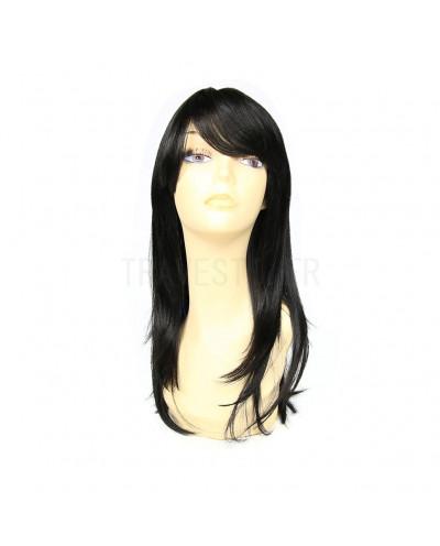 Sepia — Perruque synthétique mi-longue bonnet large Romantic (noir)