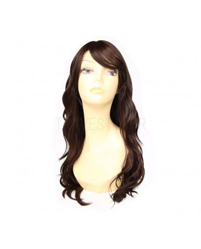 Sepia — Perruque synthétique longue bonnet large Fantasia (brun)