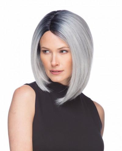 Sepia — Perruque synthétique courte et lace front Virginia (gris)