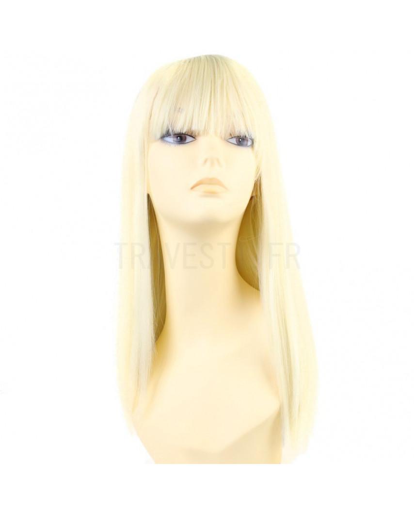 Sepia — Perruque synthétique longue à frange droite Nadine (blond platine)
