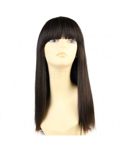 Sepia — Perruque synthétique longue à frange droite Nadine (brun)