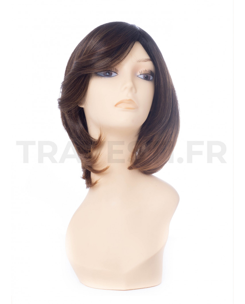 Sepia — Perruque synthétique mi-longue à frange balayée Monet (brun)