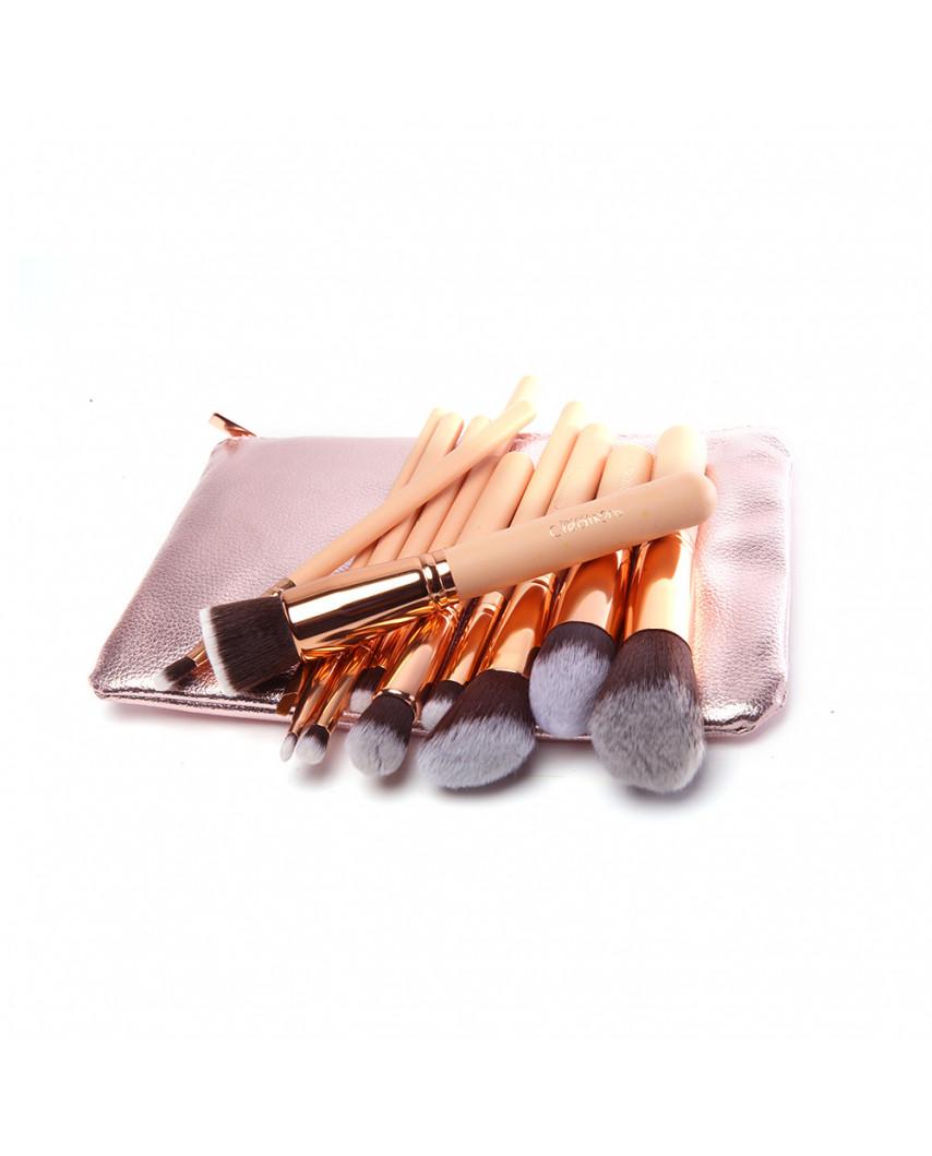 Beauty Creations — Trousse de 12 pinceaux de maquillage or rose Ballerina