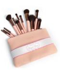 Beauty Creations — Trousse de 12 pinceaux de maquillage rose mat Royal Rose