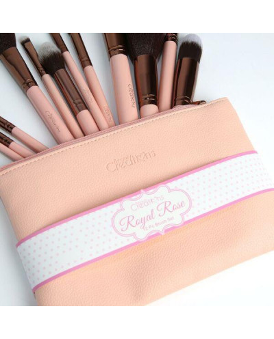 Beauty Creations — Trousse de 12 pinceaux de maquillage rose mat Royal Rose