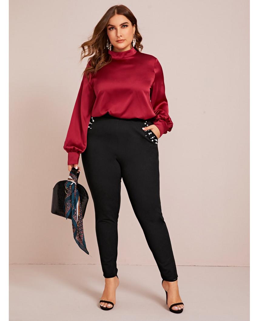 Pantalon skinny à poches obliques et à perles - Grande taille