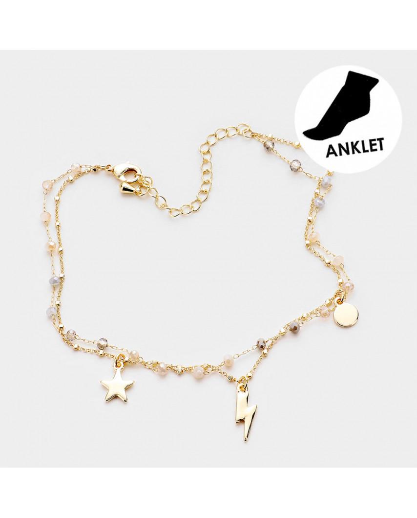 Bracelet de cheville avec perles et breloques