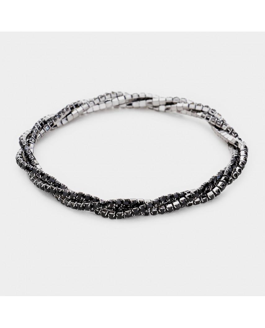 Bracelet torsadé extensible à strass