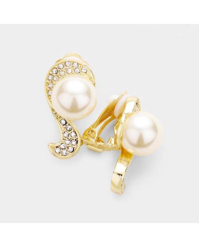 Boucles d'oreilles à clips perles et strass