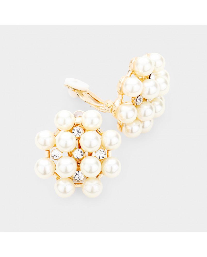 Boucles d'oreilles à clips fleur de perles et mini cristaux
