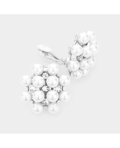 Boucles d'oreilles à clips fleur de perles et cristaux