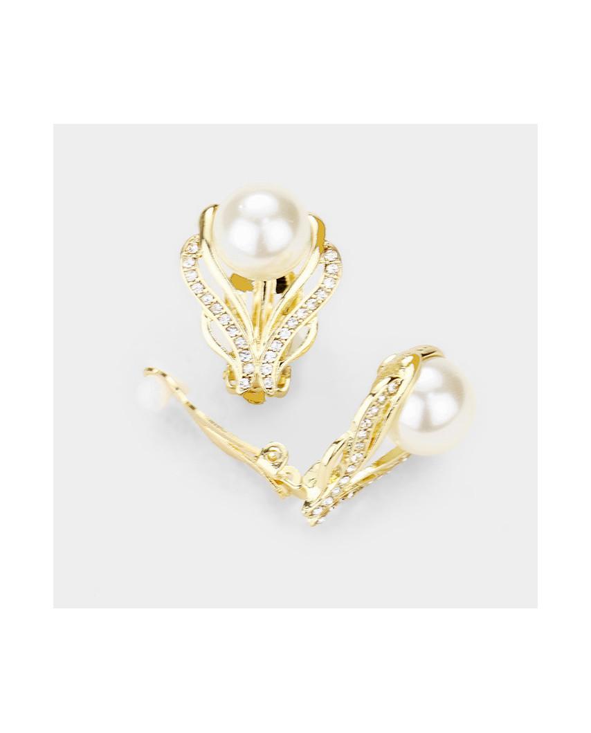 Parure de bijoux à perles collier + boucles à clips