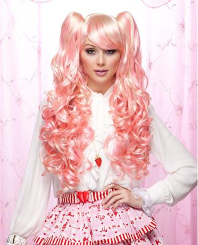 Perruque à couettes synthétique pour cosplay Joi (rose)