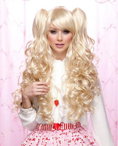 Perruque à couettes synthétique pour cosplay Joi (blond platine)