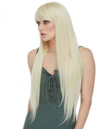 Très longue perruque synthétique aux cheveux lisses Horizon (blond platine)
