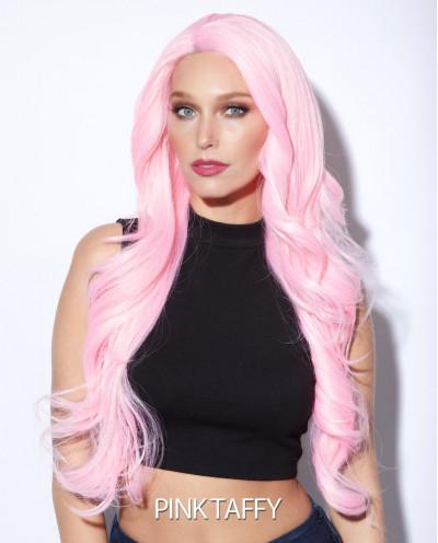 Perruque synthétique longue et lace front Kim (rose)