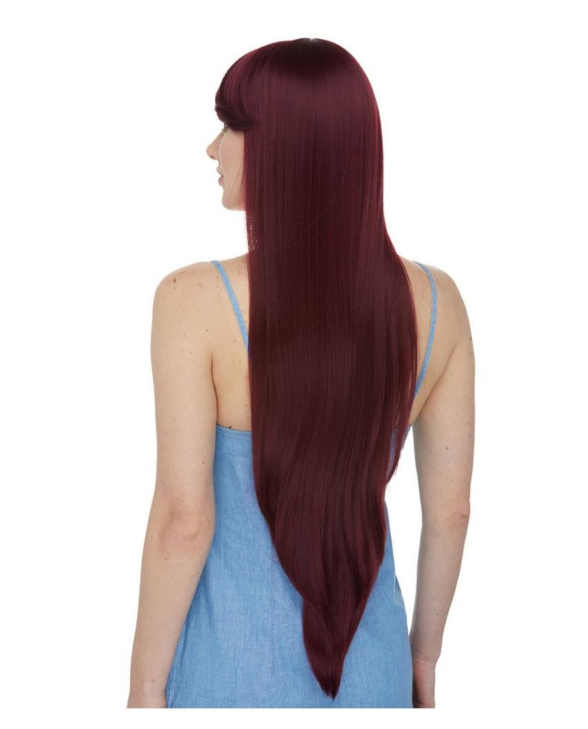 Très longue perruque synthétique aux cheveux lisses Aphrodite (bordeaux)