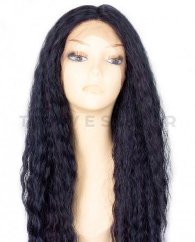 Sepia — Perruque synthétique longue et lace front Raven (brun)