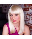 Sepia — Perruque synthétique mi-longue frange droite Deluxe Cleo (blond platine)