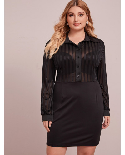 Robe chemise moulante rayée - Grande taille