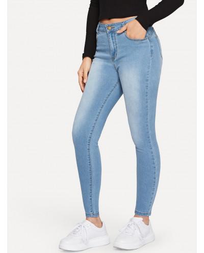 Jean skinny boutonné taille haute (bleu délavé)