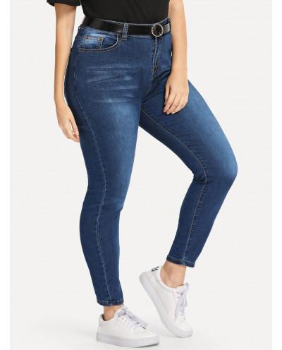 Jean skinny taille haute (bleu marine délavé) - Grande taille