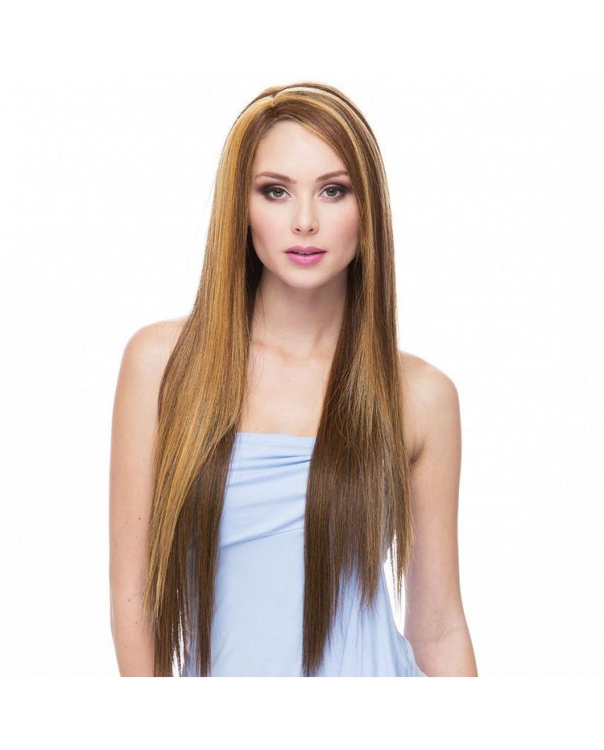 Sepia — Perruque synthétique longue et lace front Yumi