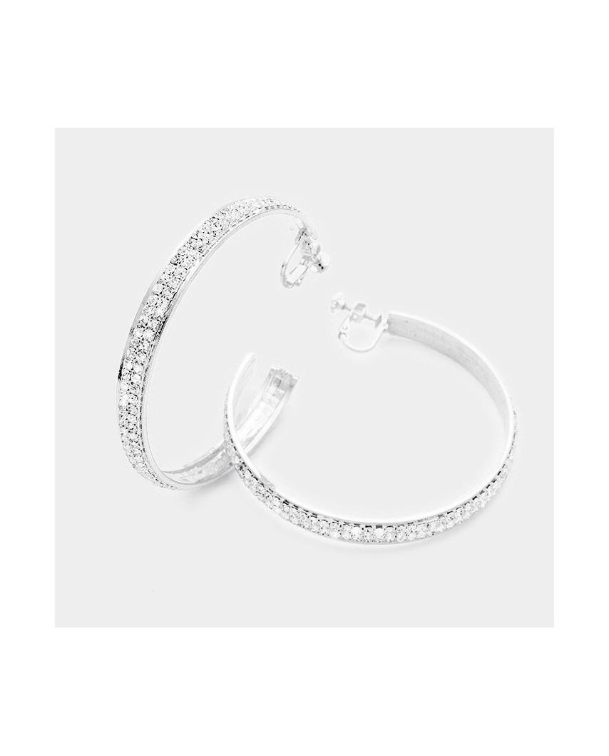 Christina Collection — Larges créoles à clips d'oreilles à strass