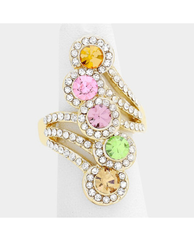 Fashion Jewelry — Bague extensible rosette à strass et cristaux