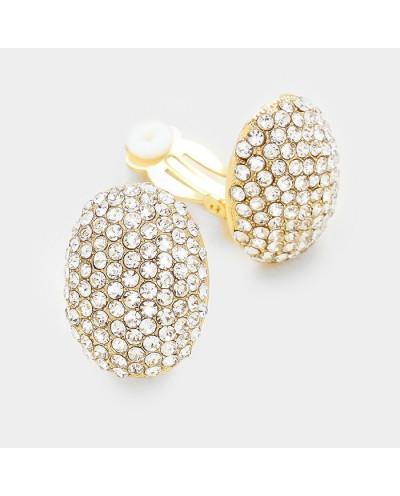 Jennifer & Company — Boucles d'oreilles à clips ovales bombées et pavées