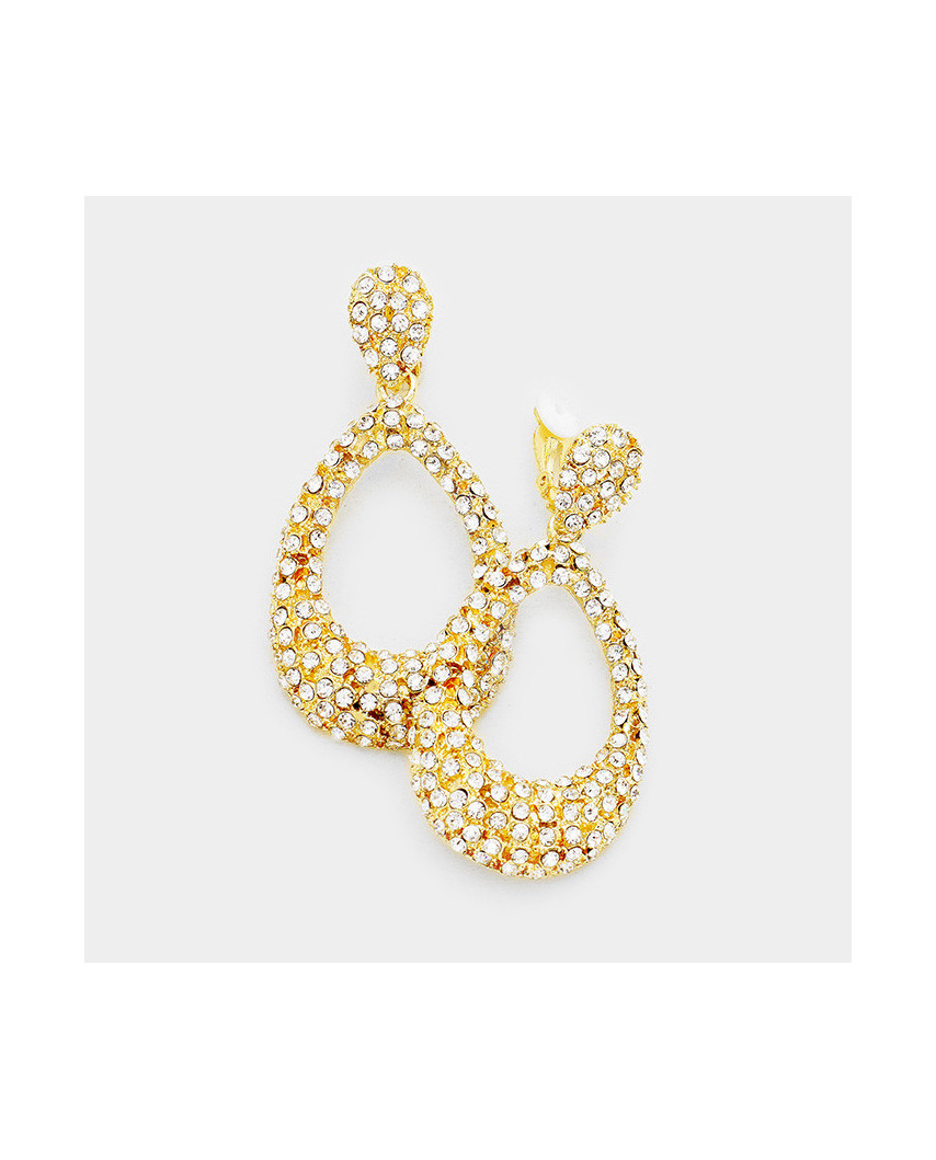 Fashion Jewelry — Boucles d'oreilles à clips heurtoirs à strass