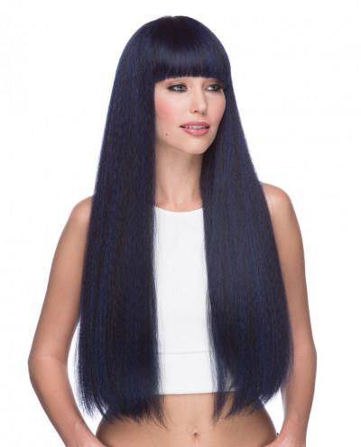 Sepia — Perruque synthétique longue à frange droite Mirage (bleu)