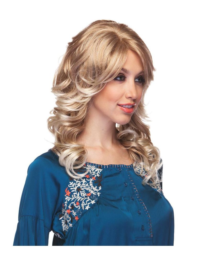 Sepia — Perruque synthétique mi-longue aux cheveux bouclés Bliss