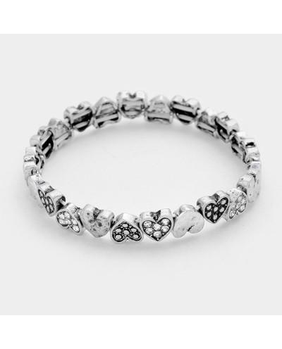 Davinci — Bracelet extensible en métal et cristal à cœurs